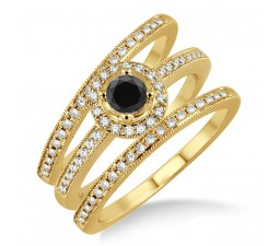 2 Carat Black Diamond Trio set Halo Ring on 10k Yellow Gold