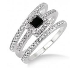 2 Carat Black Diamond Trio set Halo Ring on 10k White Gold