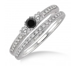 1.5 Carat Black Diamond Three Stone Bridal Set on 10k White Gold
