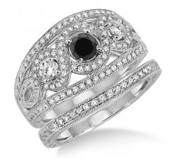2 Carat Black Diamond Trilogy set Ring on 10k White Gold
