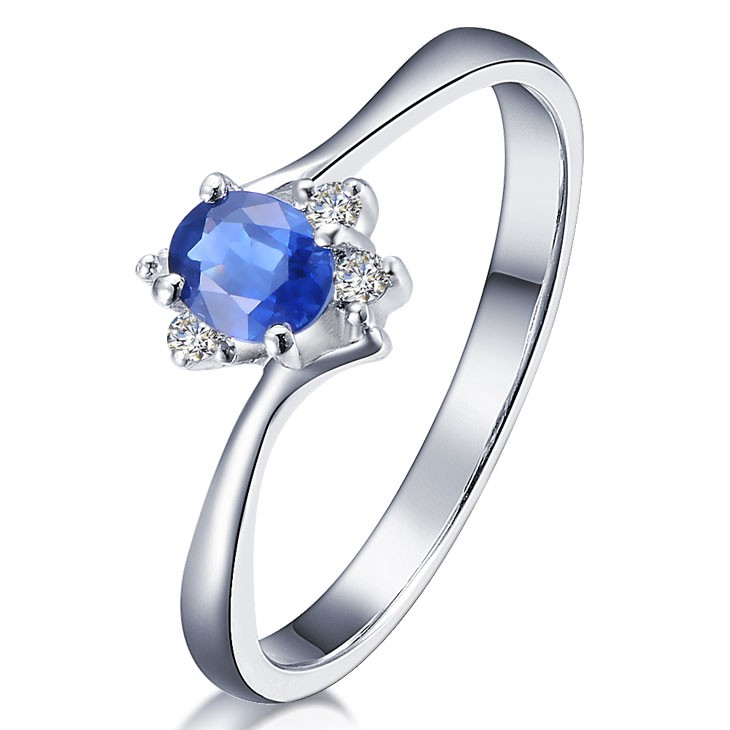 Sapphire with Diamond Engagement Ring on 10k White Gold ...