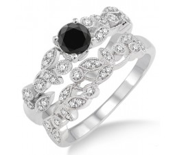 1.25 Carat Black Diamond Antique Flower Bridal Set on 10k White Gold