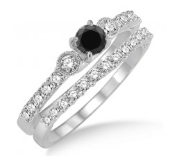 1.5 Carat Black Diamond Bridal Set on 10k White Gold