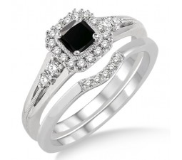 1.5 Carat Black Diamond Bridal Set Halo Engagement Ring Bridal Set on 10k White Gold