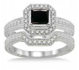2 Carat Black Diamond Antique Halo Bridal set on 10k White Gold