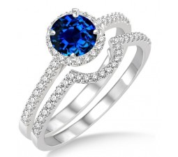 2 Carat Sapphire and Diamond Halo Bridal Set Engagement Ring  on 10k White Gold