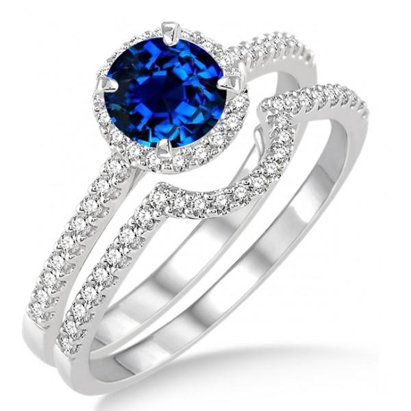 Sapphire Wedding Ring Sets Carat Sapphire And Diamond Halo Bridal Set Engagement Ring On 10k