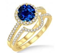 2 Carat Sapphire and Diamond Halo Bridal Set Engagement Ring on 10k Yellow Gold