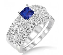 1.5 Carat Sapphire and Diamond Antique Bridal Set Engagement Ring on 10k White Gold