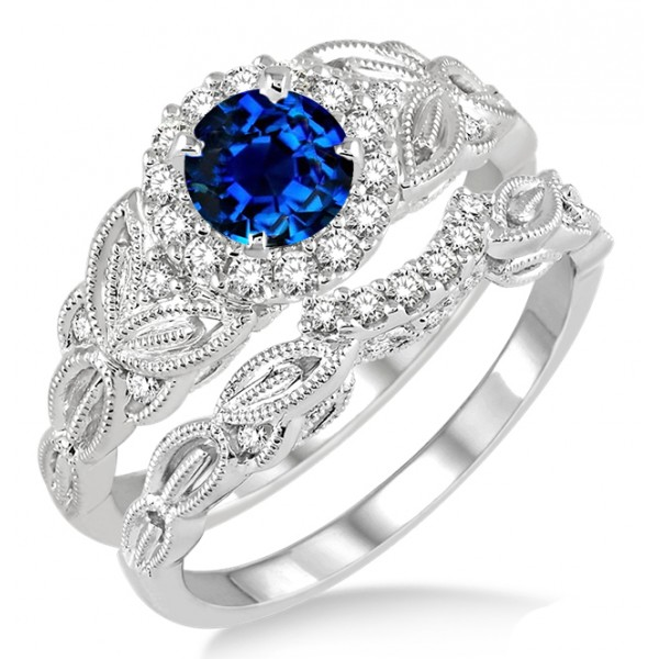 Carat sapphire and diamond vintage floral bridal set for Sapphire wedding ring sets