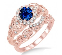 1.25 Carat Sapphire and Diamond Vintage floral Bridal Set Engagement Ring on 10k Rose Gold