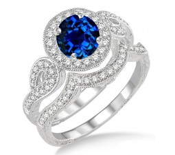 1.5 Carat Sapphire and Diamond Antique Halo Bridal Set Engagement Ring  on 10k White Gold