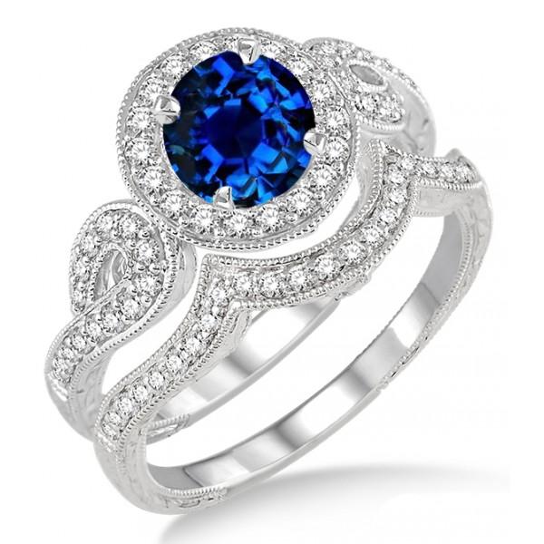 Sapphire Wedding Ring Sets Carat Sapphire And Diamond Antique Halo Bridal Set Engagement Ring