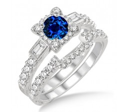 1.5 Carat Sapphire and Diamond Vintage floral Bridal Set Engagement Ring  on 10k White Gold