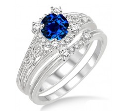 1.25 Carat Sapphire and Diamond Vintage halo floral Bridal Set Engagement Ring  on 10k White Gold