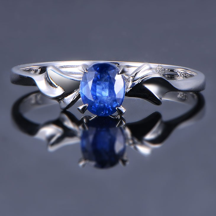 Unique Sapphire Engagement Ring On 10k White Gold Jeenjewels