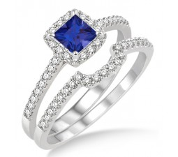 1.5 Carat Sapphire and Diamond Halo Bridal Set  on 10k White Gold