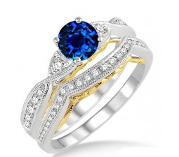 1.25 Carat Sapphire and Diamond two tone bridal setround cut diamond on 10k White Gold