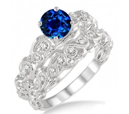 1.25 Carat Sapphire and Diamond Infinity Antique Bridal setround cut diamond on 10k White Gold