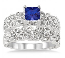 1.5 Carat Sapphire and Diamond Infinity Floral Antique Bridal setRound cut diamond on 10k White Gold