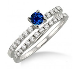 1.25 Carat Sapphire and Diamond Bridal Set  on 10k White Gold