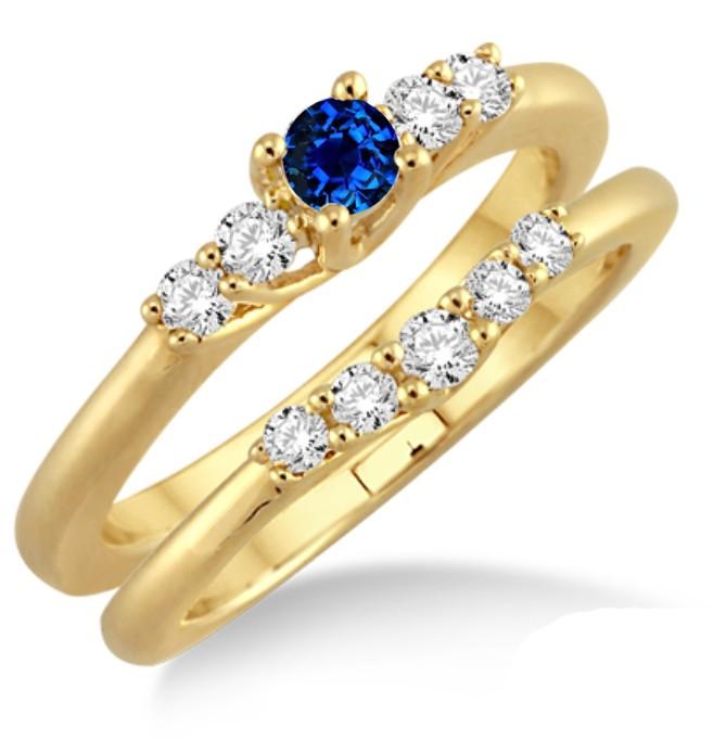 JeenJewels.com 1.25 Carat Sapphire and Diamond Affordable Bridal Set on 10k Yellow Gold