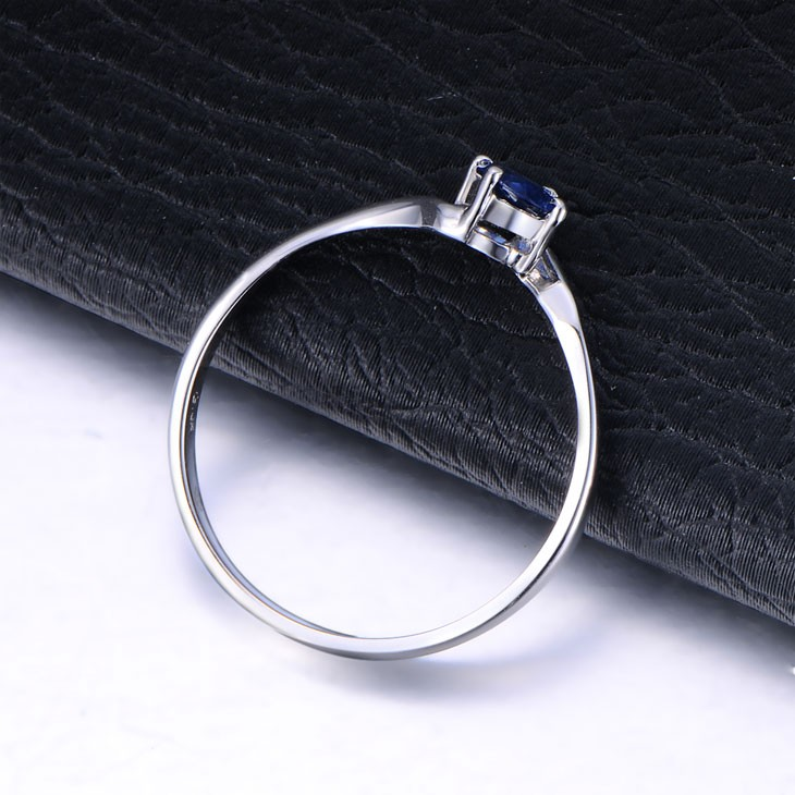 Inexpensive Beautiful Sapphire Engagement Ring on 9ct White Gold JeenJewels