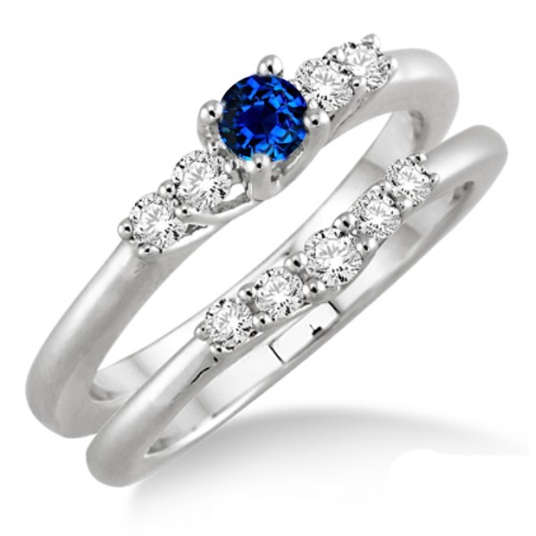 1.25 Carat Sapphire and Diamond Inexpensive Bridal Set  on 10k White Gold