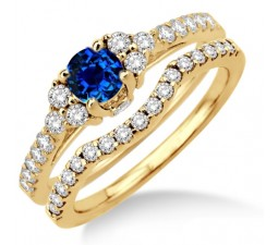 1.5 Carat Sapphire and Diamond Bridal set  on 10k Yellow Gold