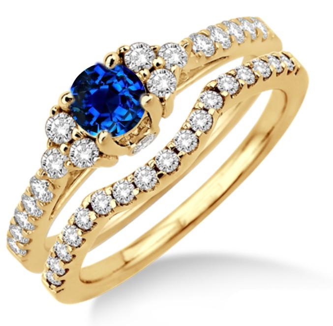 JeenJewels.com 1.5 Carat Sapphire and Diamond Bridal set on 10k Yellow Gold