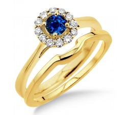 1.25 Carat Sapphire and Diamond Bridal set Halo  on 10k Yellow Gold