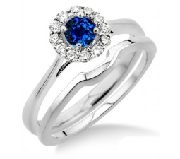 1.25 Carat Sapphire and Diamond Bridal set Halo  on 10k White Gold