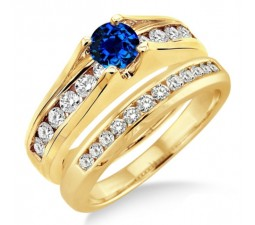 1.25 Carat Sapphire and Diamond Bridal Set  on 10k Yellow Gold