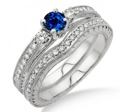 1.5 Carat Sapphire and Diamond Antique Bridal set  on 10k White Gold