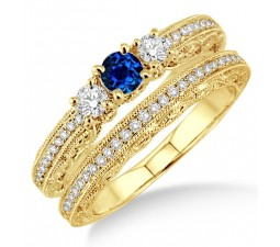2 Carat Sapphire and Diamond Antique Milgrain Bridal set  on 10k Yellow Gold