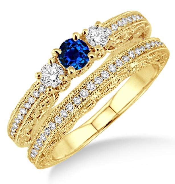 2 Carat Sapphire and Diamond Antique Milgrain Bridal set on 10k