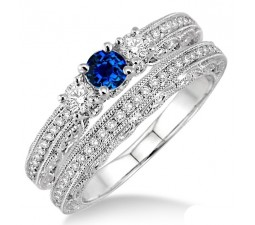 2 Carat Sapphire and Diamond Antique Bridal set  on 10k White Gold