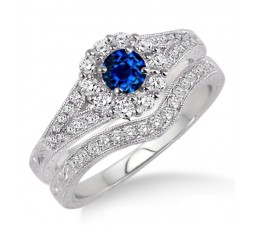 1.5 Carat Sapphire and Diamond Antique Floral Bridal set  on 10k White Gold