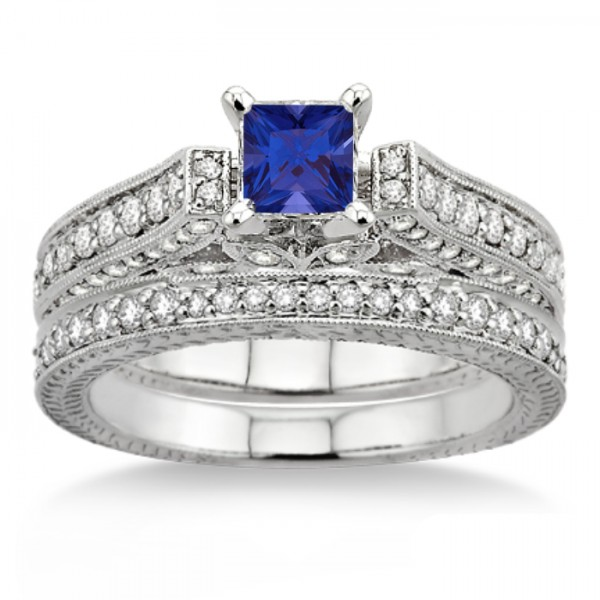 Sapphire Wedding Ring Sets Carat Sapphire And Diamond Antique Bridal Set Engagement Ring On 10k
