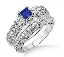 2 Carat Sapphire and Diamond Antique Milgrain Trilogy Bridal set  on 10k White Gold