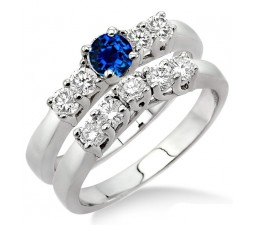1.5 Carat Sapphire and Diamond Five Stone Bridal Set  on 10k White Gold