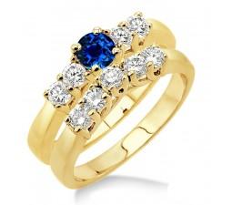 1.5 Carat Sapphire and Diamond Five Stone Bridal Set  on 10k Yellow Gold