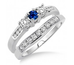 2 Carat Sapphire and Diamond Elegant Three Stone Trilogy Round Cut Bridal set on 10k White Gold