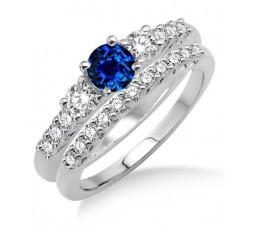 1.5 Carat Sapphire and Diamond Trilogy Bridal set  on 10k White Gold