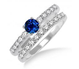 1.5 Carat Sapphire and Diamond Elegant Bridal Set  on 10k White Gold
