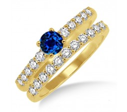 1.5 Carat Sapphire and Diamond Elegant Bridal Set  on 10k Yellow Gold