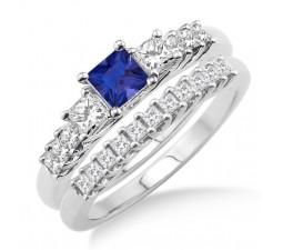 1.5 Carat Sapphire and Diamond Elegant Three Stone Bridal Set  on 10k White Gold