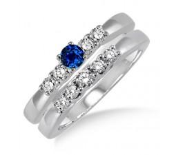 1.25 Carat Sapphire and Diamond Elegant 5 stone Bridal Set  on 10k White Gold