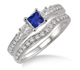 1.5 Carat Sapphire and Diamond Antique Bridal set Halo Ring  on 10k White Gold