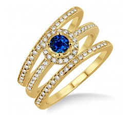 2 Carat Sapphire and Diamond Trio set Halo Ring  on 10k Yellow Gold